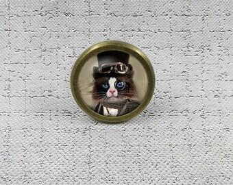 STEAMPUNK Cat   Drawer Knobs Pulls Handles / Kitchen Cabinet Knobs Handle  Pull / Antique Brass Dresser Drawer Knobs Furniture Hardware