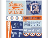 Baseball Baby Birth Announcement  Giants Cardinals Royals Orioles