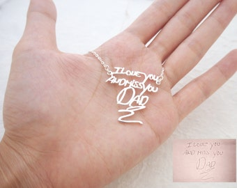 30% OFF! Personalized Signature Necklace in Sterling Silver / Handwriting Necklace/ Handwritten necklace/ Mother's Gift NH01