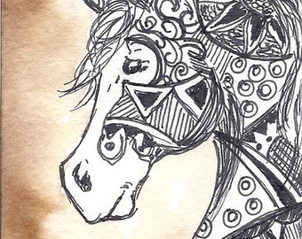 Warrior - ACEO in watercolor and pen/ink Horse