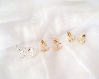 anchor stud earrings, anchor earrings, tiny anchor earrings, tiny earrings, silver anchor earrings, rose gold anchor earrings, anchor studs
