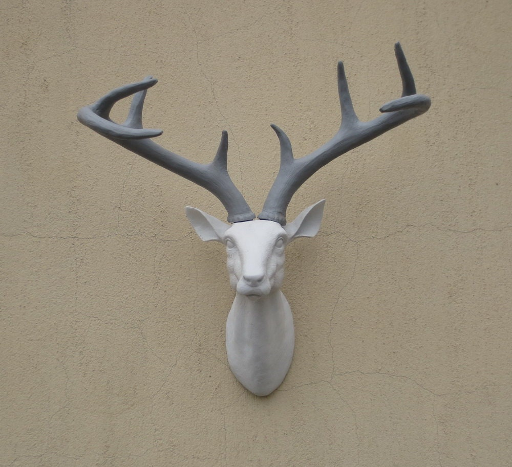 Animal Head Wall Decor White : White gray antlers deer head wall decor by