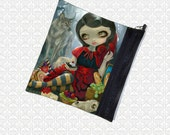 Jasmine Becket-Griffith Red Riding Hood's Picnic, zippered pouch, makeup bag wristlet, travel bag,