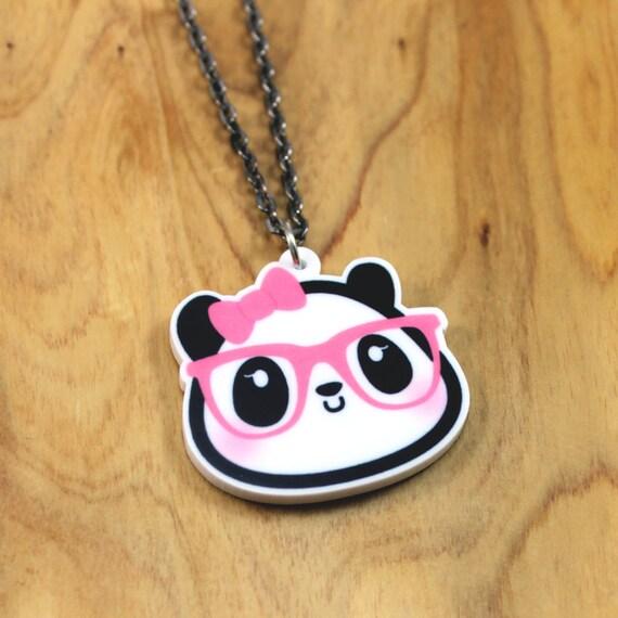 LAST ONE Dahlia the Nerdy Girl Panda Necklace