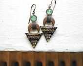 Micro Mosaic, Triangle Beaded Earrings, Tribal, Drop Earrings, Multi Colored, Earthtones