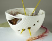 Yarn Bowl, Knitting Bowl supplies storage, Personalized White Pottery Twisted Leaves gift for mom blueroompottery MADE TO ORDER