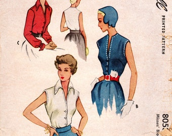 1950 Blouse Pattern - Vintage McCall 8053 - Bust 32 Button Down