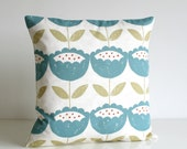 16x16 Flower Pillow Cover, 16 Inch Floral Cushion Cover, Pillow Sham, throw pillow, cotton pillow, pillowcase - Brush Flowers Teal