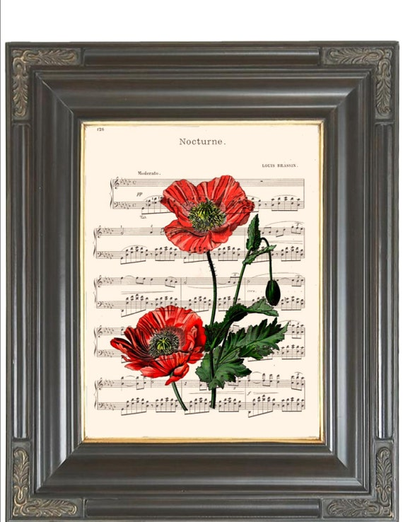 Poppy digital wall art print on dictionary or music page Dictionary art print Sheet music print COUPON SALE Flower print Wall decor No. 378