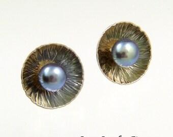 Freshwater Pearl Post Earrings - Handmade Sterling Silver Earrings - Handmade by Me - Bridesmaid Gift - June Birthstone - FREE Shipping