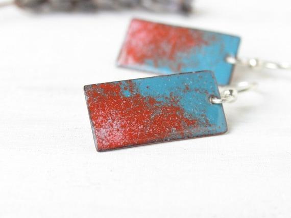 Dangle enamel earrings - teal blue orange sterling silver - artisan jewelry by Alery
