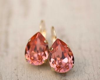 Peach Gold Estate Style Vintage Earrings Wedding Jewelry Bridal Earrings Bridesmaids Gift