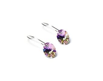Tiny Light Vitrail Swarovski Crystal Oval Teardrop Silver Earrings, Petite Lilac Crystal, Small, Simple, Dainty, Purple, Delicate Jewelry