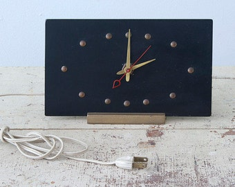 Vintage Minimalist Black Wooden Electric Mantle Clock - Very Stylish and Design