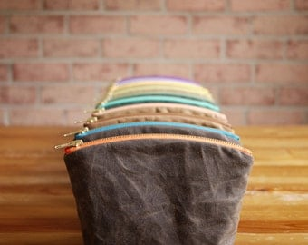 Waxed Canvas Personalized Small Cosmetic Pouch- Vegan Wedding Gift Travel Clutch Make Up Bag Mothers Day Gift