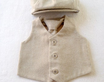 Hat vest tie set, Ring Bearer, Baby boy outfit, Baby vest set, Boys vest outfit, Khaki vest set, Newsboy Ring Bearer, Page boy