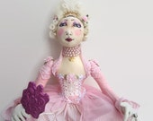 Marie Antoinette Boudoir Art doll Mothers day pink wedding gown rococo mirror merino wool, diamante nagorie feathers silk cotton lace