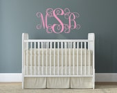 Monogram Vinyl Wall Decal - Nursery & Children's Vinyl Wall Art - Personalized Vinyl Lettering - Nursery Decal - Monogram