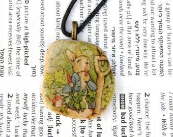 Beatrix Potter,Beatrix Potter necklace, Peter the Rabbit necklace Peter rabbit jewelry beatrix potter jewel decorated stone original gift