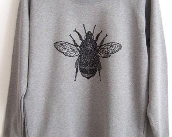 Womens light  grey organic cotton ethical sweatshirt bumble bee print