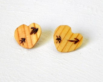 Reclaimed Wood Heart Earrings Burned Arrows One of a kind up-cycled jewelry