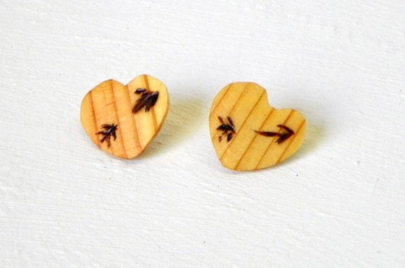 Wooden Heart Earrings from Feath & Kee
