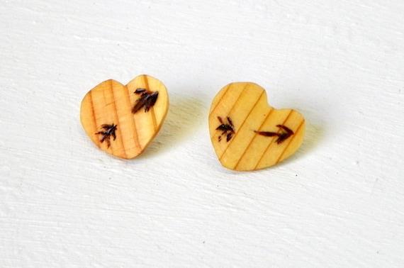 Wooden Heart Earrings from Feath & Kee