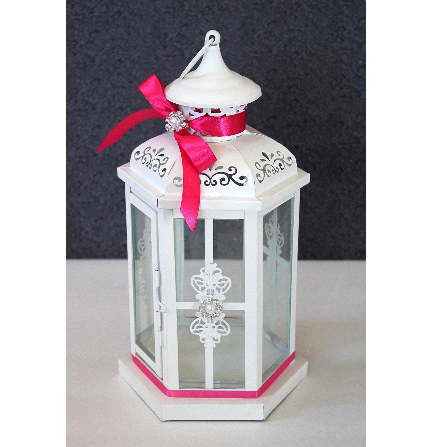 Wedding lantern centerpiece antique white ivory by