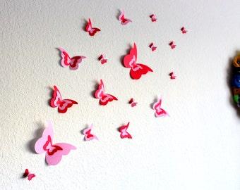 3d Butterfly Wall Art, 3d butterflies, Pink wall art, 3d Paper Butterflies, valentines day decor, Love wall art, Butterfly decorations