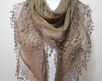 Best Selling Item Brown Scarf Shawl Cowl Scarf Laced Lightweight Fall Scarf Women Holiday Fashion Accessory Christmas Gifts For Her For Mom