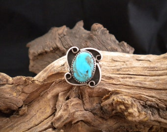 Size 8.75 Ring Blue Turquoise & Sterling Silver Signed Piece Handmade