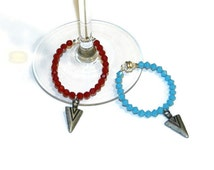 Indian beaded Arrowhead Wine Charms Preciosa Swarovski Crystals Sterling Silver Wire Custom Color Choices Available,Qty: 2 Top selling item
