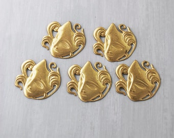 SALE! 5 Brass Mask Stampings - flat metal findings for jewelry making or scrapbooking - mardi gras masquerade masks