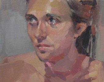 "Sale! Art painting portrait ""Jennifer"" 12x9 inch original oil by Oregon artist Sarah Sedwick"