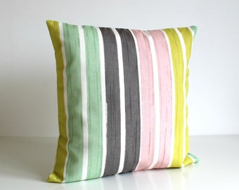 Decorative Pillow Cover, Stripe Pillow Cover, Pillow Cover, cushion cover, cotton pillow, accent pillow cover - Brush Stripes Mint