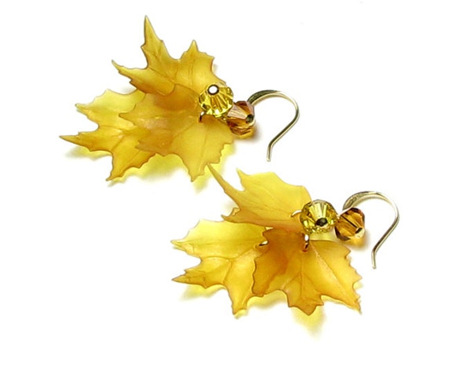 Yellow Fall Leaf Earrings Honey Amber Fall Leaves Topaz Sunflower Swarovski Crystal Beads Golden Autumn Jewelry Gold Thanksgiving Accessory