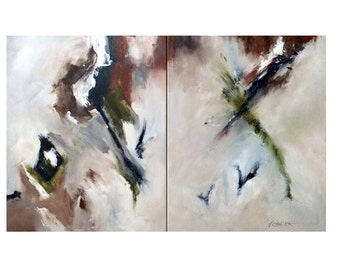 """ORIGINAL PAINTING Large Modern Abstract Acrylic Painting, Titled: """"Avalanche"""" 30""""x48"""" Painted sides, Huge DIPTYCH wall decor"""