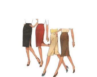 Vintage 1980 Side Slit Skinny Pencil Skirt Sewing Pattern Style Pattern 3010 Misses Size 12 Waist 26 Hip 37