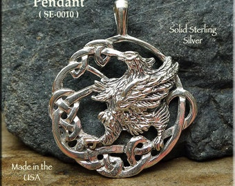 Sterling Silver Celtic Gryphon Pendant, .925 Silver Large Griffin Pendant Necklace, Fantasy Jewelry Celtic Jewelry, Gryphon Necklace SE-0010