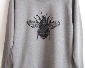 Bee jumper Womens light  grey organic cotton ethical sweatshirt