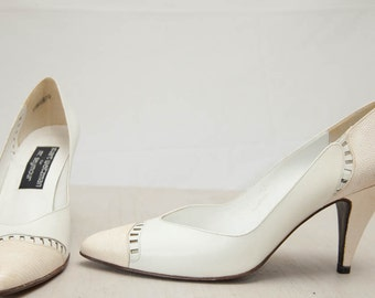 Vintage Stuart Weitzman Wedding Heels in White Cream Leather Snakeskin / Bridal Shoes / Made in Spain / Size 8.5 Deadstock