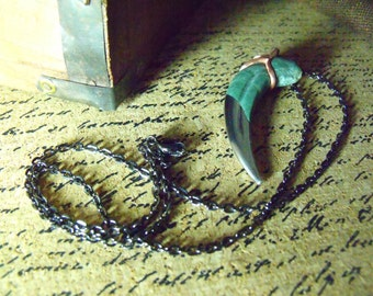 Eagle Claw - Carved Pendant, Necklace - Harpy Eagle Claw - River Stone and Steel