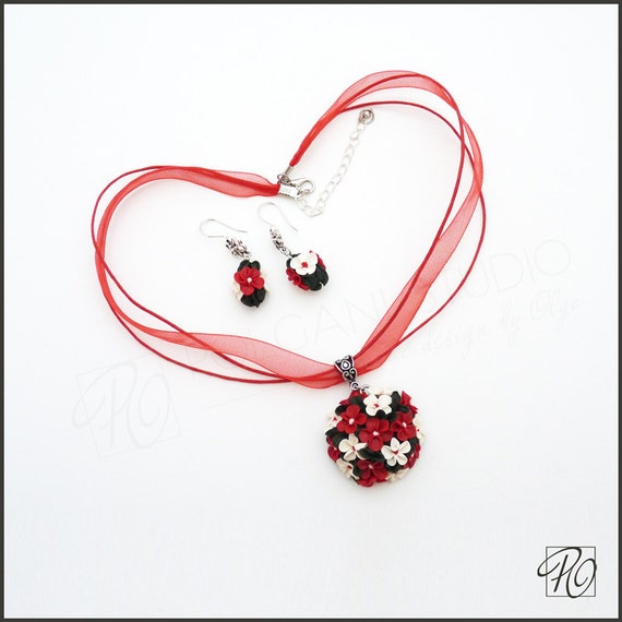 Handmade Necklace and Earrings Set Red White Green, Polymer Clay Jewelry Set Tiny Flowers, With Love, For Her. READY TO SHIP.