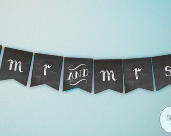 Chalkboard Mr & Mrs Wedding Banner Photo Prop / Reception Decoration / Engagement Party Decor