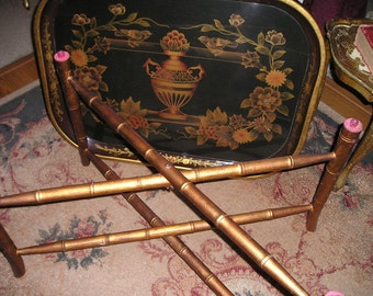 Vintage Ornate Oriental Xlg.Wooden Laquered Tray/Table with Birds,Coppery Gold Wood Legs/Stand Hollywood Regency Glam.
