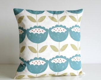Flower Pillow Cover, Floral Cushion Cover, Pillow Sham, throw pillow, cotton pillow, pillowcase - Brush Flowers Teal