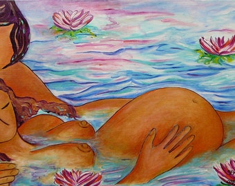 Pregnancy art-Birthing art-Birth painting-From water to water-waterbirth-natural birth-Gioia Albano mother art -couple birth image-birthing