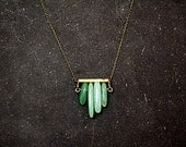 ON SALE Art deco style aventurine chevron necklace green aventurine on antique gold / black patinated bar. Small statement necklace for her.