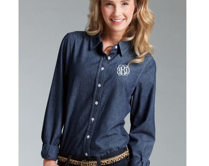 Monogrammed Chambray Shirt, Bridesmaid Gifts, Monogrammed gifts, Monogrammed button down shirts
