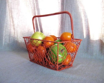Cool Vintage Wire Basket in Orange Koi / Retro Chic Painted Metal Basket